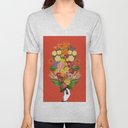 Botanical Red Unisex V-Neck