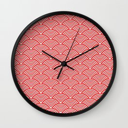 Japanese Waves (Red & White Pattern) Wall Clock