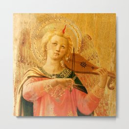 """Fra Angelico (Guido di Pietro) """"Music-making angel, Detail from the Linaioli Tabernacle"""" 4. Metal Print"""
