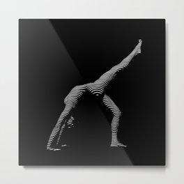 9466s-DJA BW Zebra Striped Nude Woman Yoga Pose Metal Print