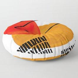 Mid Century Modern Abstract Vintage Pop Art Space Age Pattern Orange Yellow Black Orbit Accent Floor Pillow
