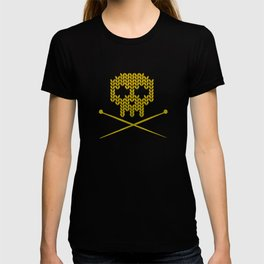 Knitted Skull (White on Yellow) T-shirt