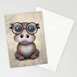 Cute Nerdy Baby Hippo Wearing Glasses Stationery Cards