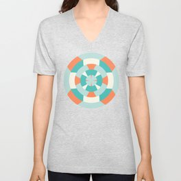 Simple geometric boat helm in mint and orange Unisex V-Neck