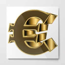 Eurosign in golden look Metal Print