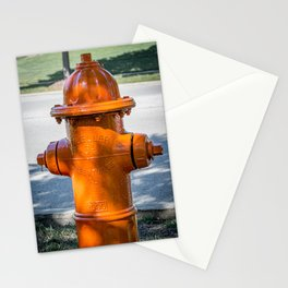 Back of Orange Mueller Super Centurion Fire Hydrant Colorful Fire Plug Stationery Cards