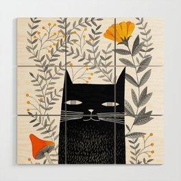 black cat with botanical illustration Wood Wall Art