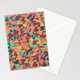 Colourful triangular mosaic in orange, red and green Stationery Cards
