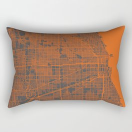 Chicago map orange Rectangular Pillow
