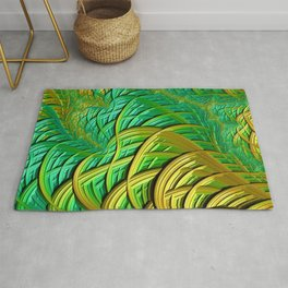 patterns green yellow string Rug