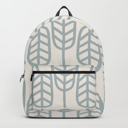 Feather Leaves Scandi Botanical Pattern in Cream and Light Blue-Gray Backpack