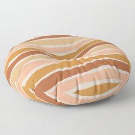 Organic Layer Stripes Stripe Pattern in Clay Ochre Putty Rust Blush Earth Tones Floor Pillow