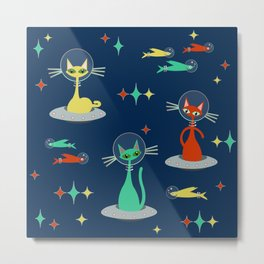 Retro Cats in Space Metal Print