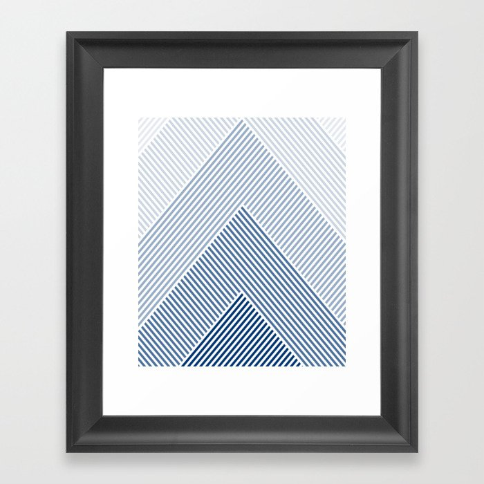 Shades of Blue Abstract geometric pattern Gerahmter Kunstdruck
