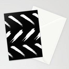 Chic Contemporary White Line Pattern On Ebony Stationery Cards