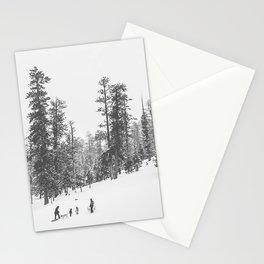 Sledding // Snowday Winter Sled Hill Black and White Landscape Photography Ski Vibes Stationery Cards