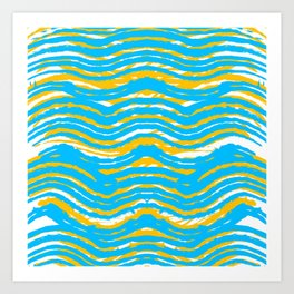 Blue Yellow Waves - Pattern #6 Art Print
