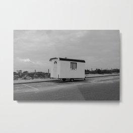 Cabin on the beach - Zandvoort The Netherlands photo   Black and white monochrome hippie nomad travel photography art print Metal Print