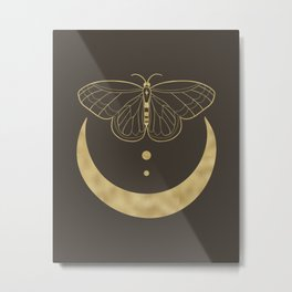 Crescent Moon Butterfly Celestial Print in Gold Metal Print