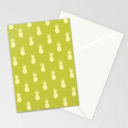 Retro Pineapples - Lime Green and Pastel Yellow Stationery Cards