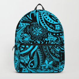 Hawaiian - Samoan - Polynesian Teal Tribal Threads Backpack