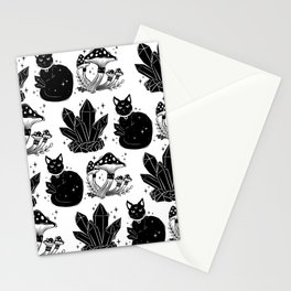 magic cat pattern, witch cat pattern, halloween cat pattern Stationery Cards
