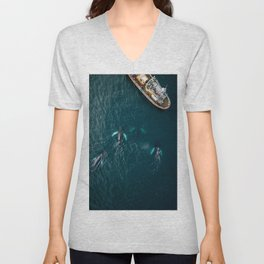 School of humpback whales playing with a boat Unisex V-Neck