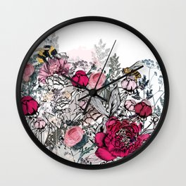 Beautiful vector illustration with peony flowers, herbs, plants and bees in vintage style Wall Clock