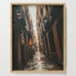 Barcelona Alley | Tilted Alleyway Streets in the City High Buildings Charming Moody Architecture  Serving Tray
