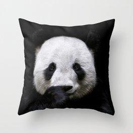 Cute panda bear portrait  Throw Pillow