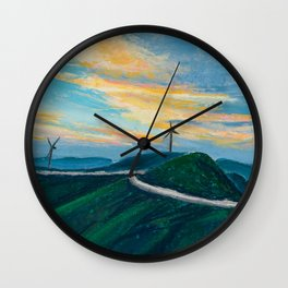 Pastel Painting | Windmill in the sunset Wall Clock