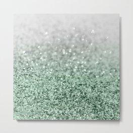 Silver Pastel Mint Green Ocean Glitter Glam #1 (Faux Glitter) #shiny #decor #art #society6 Metal Print