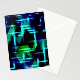 Green and blue highlights on an ultramarine blue metal background. Stationery Cards