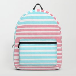 Coral pink and blue stripes  Backpack