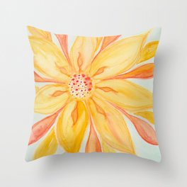 Sunburst Yellow and Orange Abstract Watercolor Flower Throw Pillow