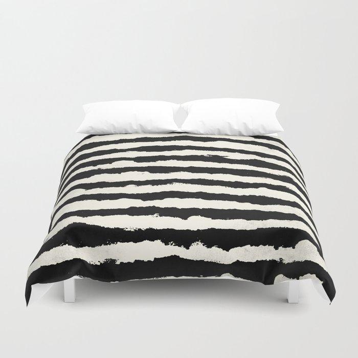 Tribal Stripes Black on Cream Duvet Cover by followmeinstead
