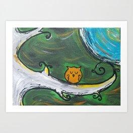 Owl Sleeps In Art Print