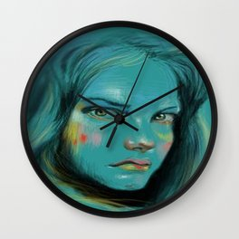 Woman in Blue Wall Clock