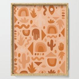 Orange Cutout Print Serving Tray