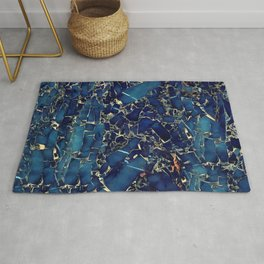 Dark blue stone marble abstract texture with gold streaks Rug