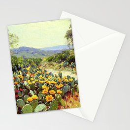 Yellow and Red Cactus Blossoms in the Desert Landscape painting by Robert Julian Onderdonk Stationery Cards