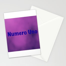 """Numero Uno"" text on a light purple abstract background design Stationery Cards"