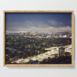 View of Los Angeles from the Getty Museum at Dusk Serving Tray