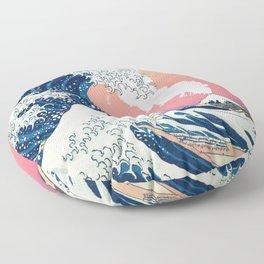 Great Wave Off Kanagawa Mount Fuji Eruption and Gradient Pink and Orange Floor Pillow