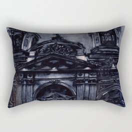 Watercolor painting of the neo-classical facade of the Cathedral on the Plaza de Armas in Santiago, Rectangular Pillow