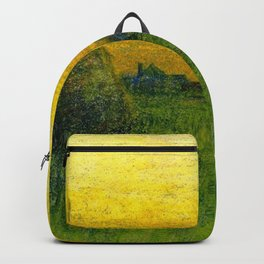 Haystacks amid a Golden Sunset landscape by Charles Warren Eaton Backpack