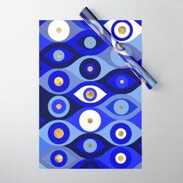 Greek Mati Mataki - Matiasma Evil Eye blues Wrapping Paper