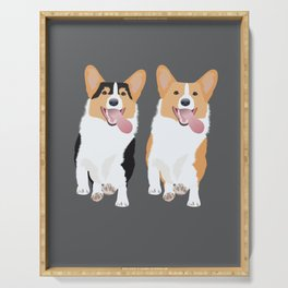 Corgi Friends Running Together Serving Tray