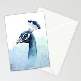 Peacock Watercolor Exotic Bird Animals Stationery Cards
