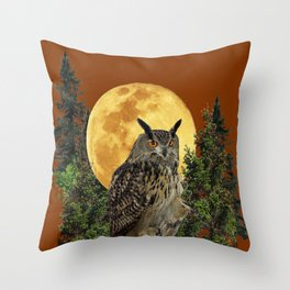 BROWN WILDERNESS OWL WITH FULL MOON & TREES Throw Pillow